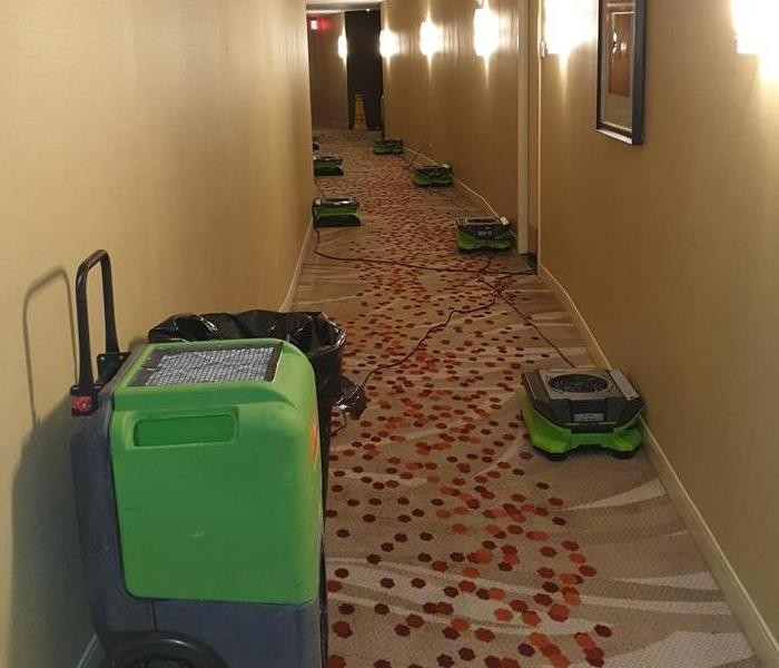 Hallway with green SERVPRO equipment on the floor.
