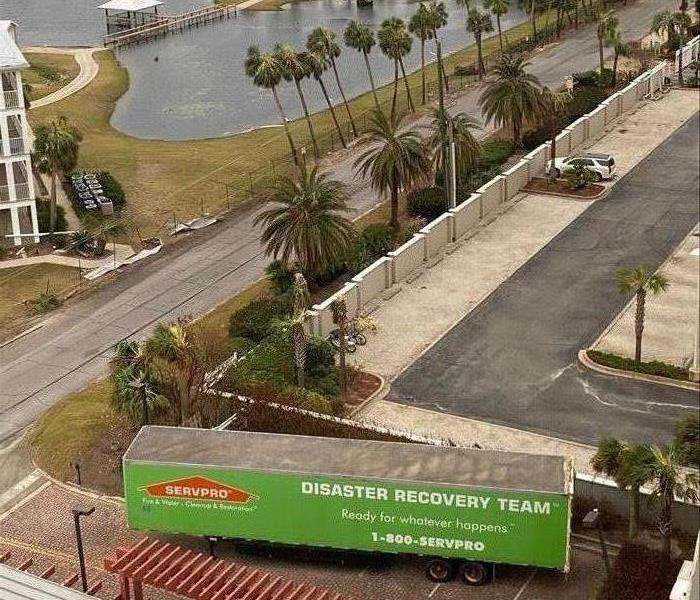 Overview of palm trees with a SERVPRO trailer.